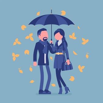Para z parasolem jesienią. mężczyzna, kobieta zakochana stojąca razem chroniona pod deszczem jesiennych żółtych liści, czująca się bezpiecznie, pewnie, romantyczny związek. ilustracja wektorowa, postacie bez twarzy