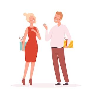 Para z prezentami. niespodzianka, mężczyzna kobieta trzyma prezenty pudełka. boże narodzenie nowy rok lub walentynki uroczysty, czas wakacji wektor ilustracja. para z prezentami, kobieta i mężczyzna z pudełkiem niespodzianek