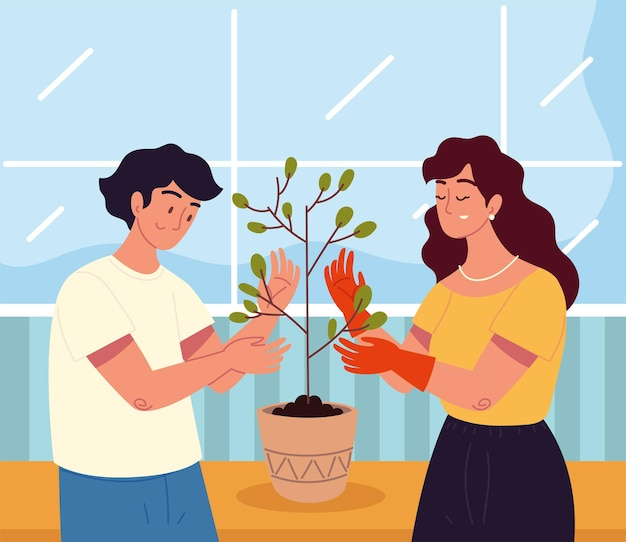 Para z roślinami doniczkowymi