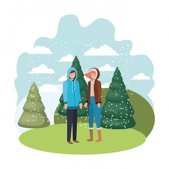 Para z zimowymi ubraniami i zimowym charakterem sosnowym awatarem
