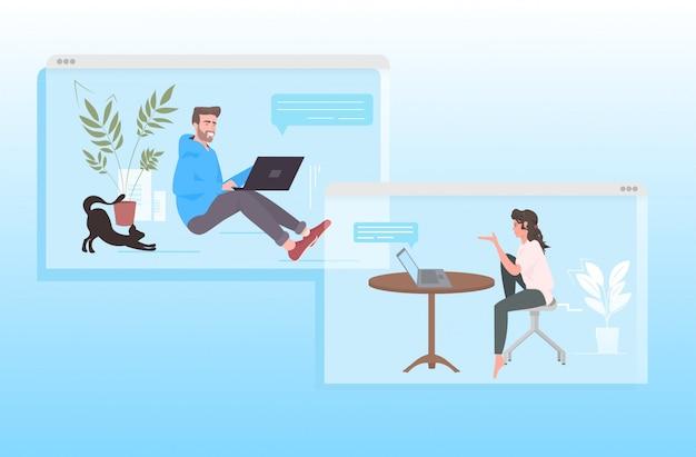 Para za pomocą laptopów kobieta mężczyzna omawianie podczas rozmowy wideo bańka czat koncepcja komunikacji okna przeglądarki pełnej długości poziomej ilustracji
