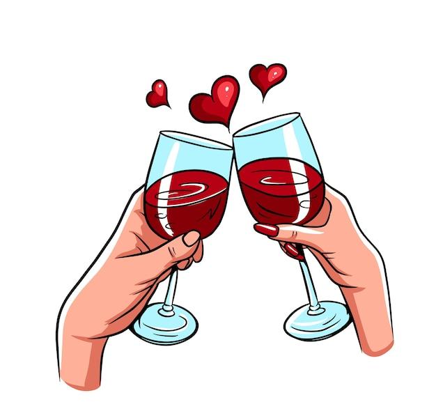 Para zakochanych dwie ręce brzęk kieliszki do czerwonego wina wektor na białym tle w walentynki, boże narodzenie lub wakacje.