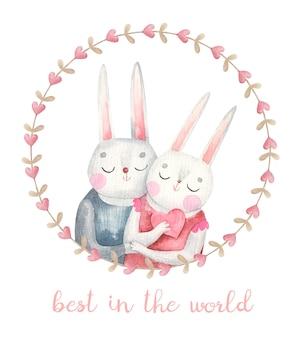 Para zakochanych królików w okrągłej ramie, śliczna karta walentynkowa, akwarela