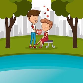 Para zakochanych na krześle parku