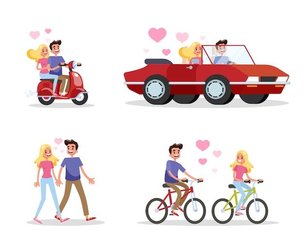 Para zakochanych w zestawie. mężczyzna i kobieta chodzą, jeżdżą na rowerze