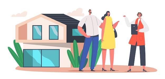 Para zakupu luksusowej podmiejskiej chaty. pośrednik w sprzedaży nieruchomości klientom. postać menedżera zawrzyj umowę z właścicielem domu, hipoteki, wynajmu lub kupna. ilustracja wektorowa kreskówka ludzie