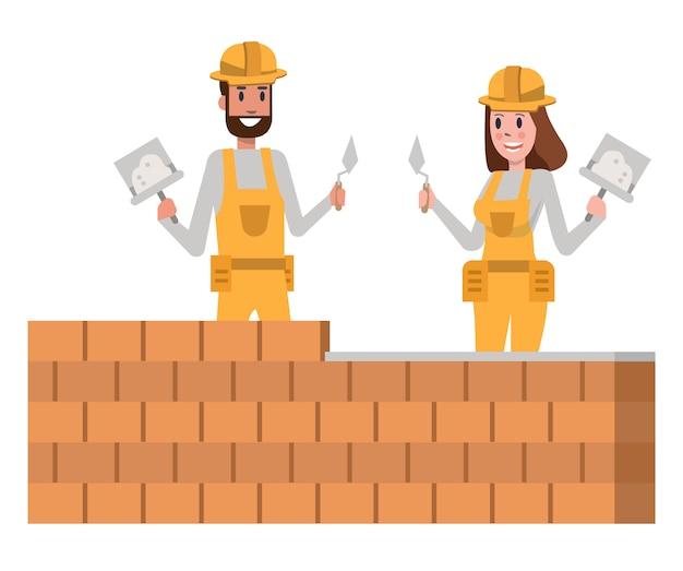 Para zespołu budowniczego cegły