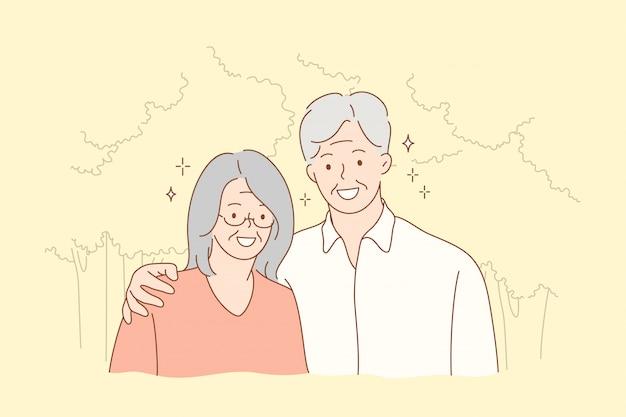 Para, związek, uścisk, koncepcja miłości