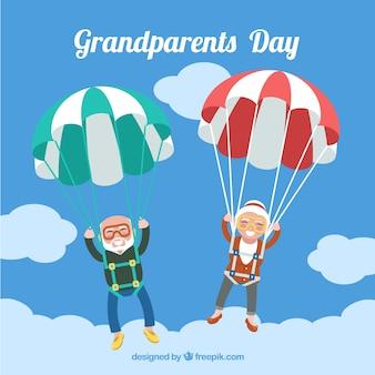 Parachute dziadków w tle