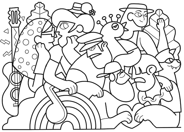 Parada dumy, tłum maszerujący w paradzie dumy. członkowie społeczności lesbijek, gejów, osób biseksualnych i transpłciowych. do projektowania kolorowanek, ilustracji wektorowych doodle
