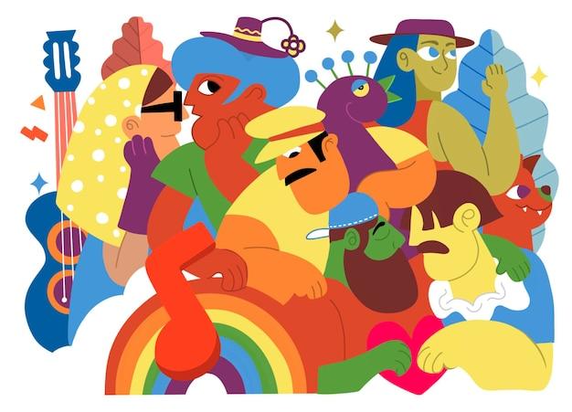 Parada dumy, tłum maszerujący w paradzie dumy. członkowie społeczności lesbijek, gejów, osób biseksualnych i transpłciowych. trend, który obejmuje różnorodną grupę ludzi, ilustracja wektorowa doodle