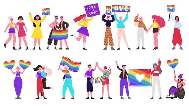 Parada równości. ruch społeczny lgbtq, lesbijki, geje, osoby biseksualne i transpłciowe grupują się z tęczowymi flagami i sercami. zestaw parady miłości. tęczowa parada wolności lgbtq dla praw