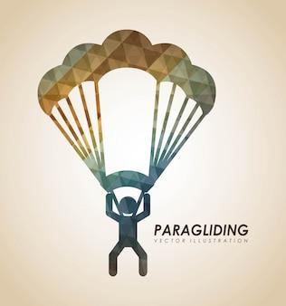 Paragliding projekt nad beżową tło wektoru ilustracją