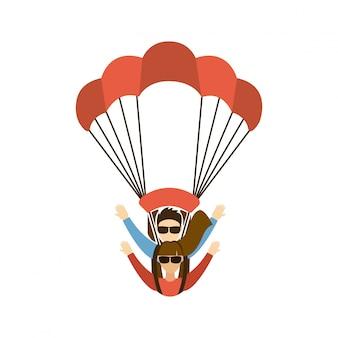 Paragliding projekt nad białą tło wektoru ilustracją