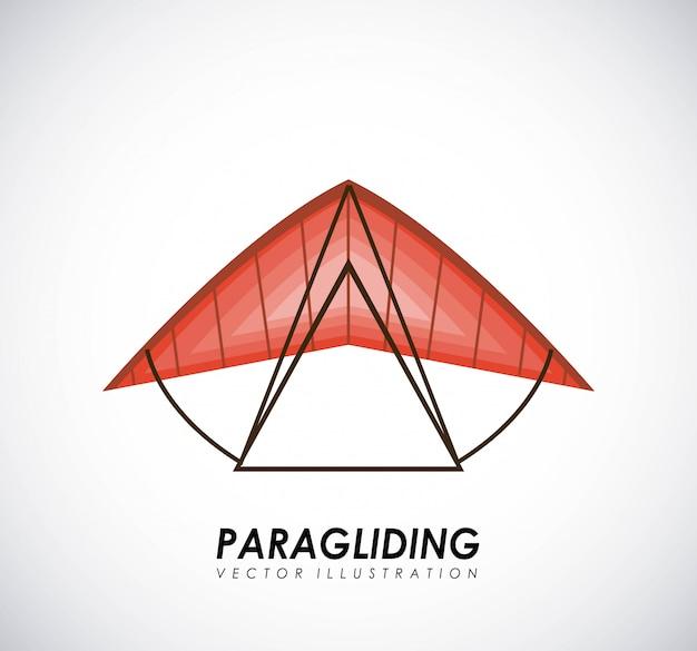 Paragliding projekt nad szarą tło wektoru ilustracją