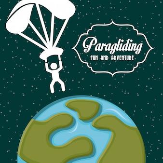 Paragliding projekt nad zieloną tło wektoru ilustracją