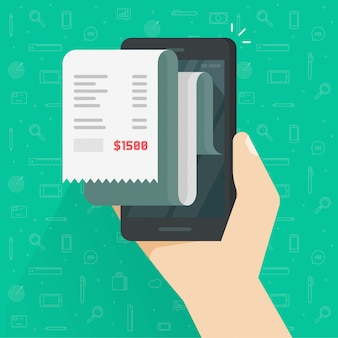 Paragonowy rachunek lub faktura kwit na telefonie komórkowym lub telefonu komórkowego ilustraci odizolowywającej płaskiej kreskówce