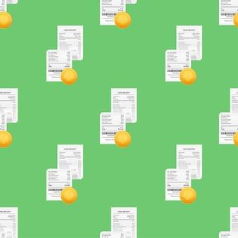 Paragony realistycznego wzoru papierowych rachunków płatniczych dla transakcji gotówkowych lub kartą kredytową. czas ilustracja wektorowa.