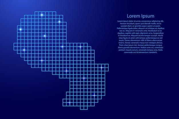 Paragwaj mapa sylwetka z niebieskich kwadratów struktury mozaiki i świecących gwiazd. ilustracja wektorowa.