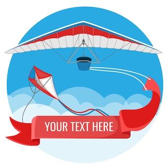 Paralotnia I Latawiec Z Czerwonym Banerem Reklamowym Latającym Na Niebieskim Niebie Premium Wektorów