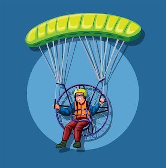 Paralotniarstwo z napędem, człowiek leci na spadochronie z silnikiem.