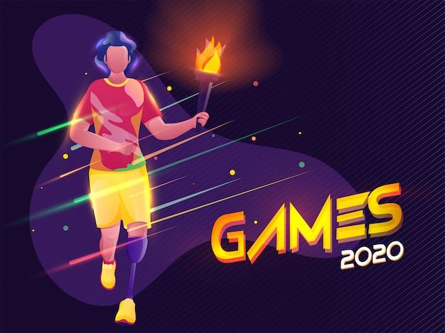Paraolimpijski młody chłopiec trzyma płonącą pochodnię z efektem świetlnym na tle fioletowego paska wzór dla gier 2020.