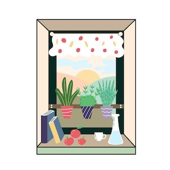 Parapet kuchenny z zielenią pokój narożny zielony przytulne wnętrze pokój z oknami roślina doniczkowa