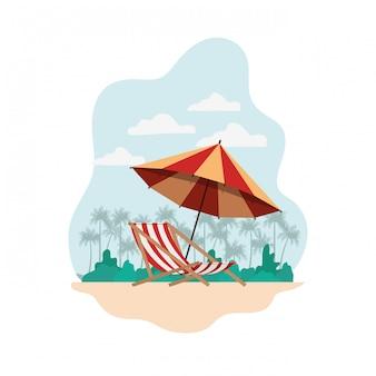 Parasol plażowy na lato w paski ikona