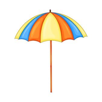 Parasol plażowy w stylu kreskówka na białym tle.