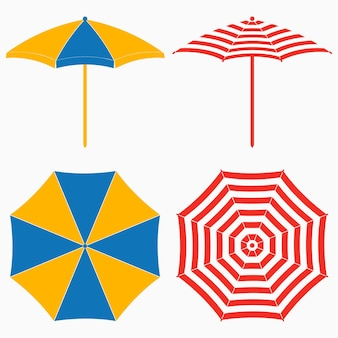 Parasol plażowy, widok z góry iz boku. zestaw pasiastych parasoli przeciwsłonecznych. ilustracja wektorowa.