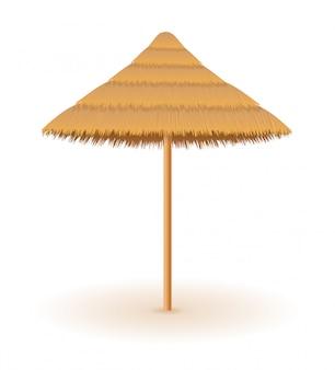 Parasol plażowy ze słomy i trzciny dla cienia