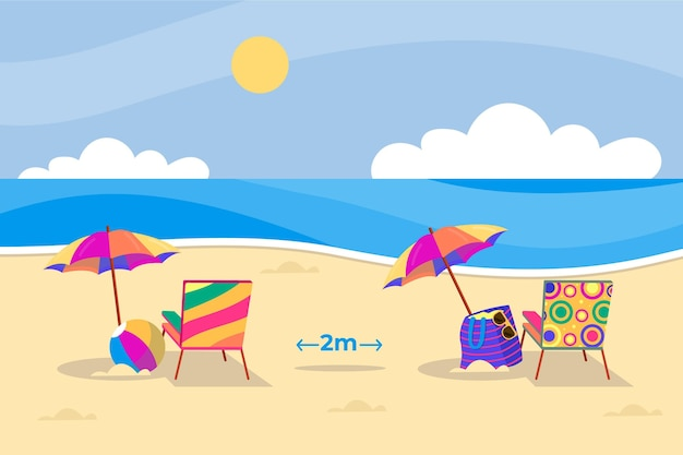 Parasole na plażach dystansowanie społeczne