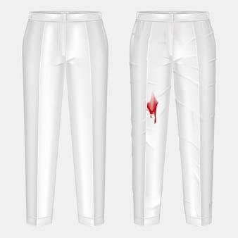 Pare brudnych, ociekających krwią plamami i wyprasowanych, lśniąco czystych białych damskich spodni