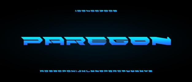 Paregon, abstrakcyjny nowoczesny skondensowany alfabet z szablonem w stylu miejskim