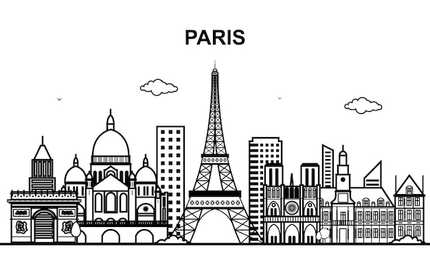 Paris city tour cityscape skyline line outline