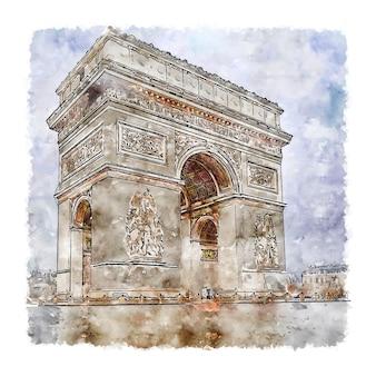 Paris place de l'etoile szkic akwarela ręcznie rysowane ilustracji