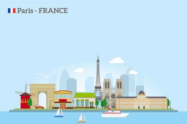 Paris skyline w stylu płaskiej
