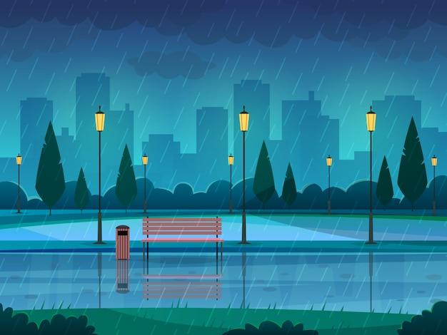Park deszczowy dzień. pada publicznego parka deszczu miasta natury sezonu ścieżki ławki latarni ulicznej krajobraz, płaski tło