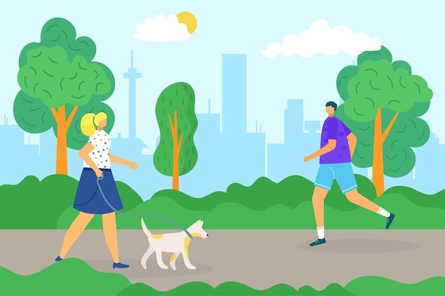 Park dla psa ilustracja wektorowa mieszkanie kobieta osoba charakter spacer ze zwierzęciem dorosły mężczyzna ludzie biegają...