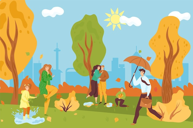 Park jesienią, ilustracji wektorowych. kreskówka ludzie kobieta mężczyzna charakter spacer w krajobraz przyrody, dziewczyna grać w kałuży. szczęśliwa para, facet z parasolem chodzić w pobliżu żółtego drzewa parku miejskiego.