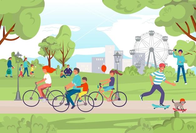 Park miejski na świeżym powietrzu styl życia ludzi
