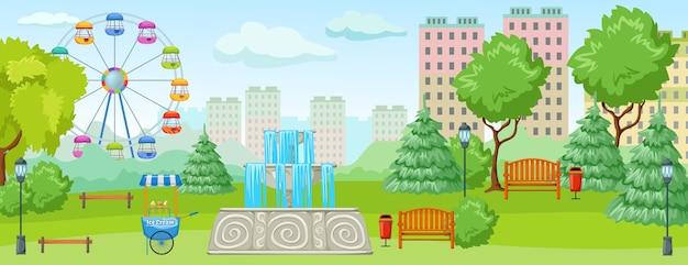 Park miejski z rozrywkowymi zielonymi drzewami i trawiastymi smakołykami dla dzieci
