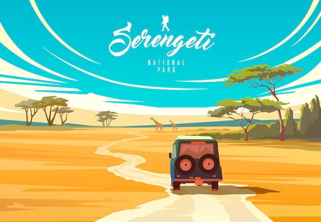 Park narodowy serengeti. charakter tanzanii. savannah