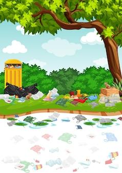 Park pełen plastikowych toreb pod drzewem