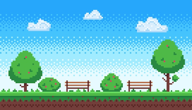 Park pikseli. retro gemowy niebieskie niebo, piksli drzewa i park, ławka ilustracja