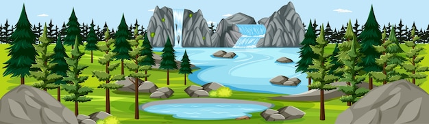 Park przyrody z wodospadem krajobraz panorama sceny