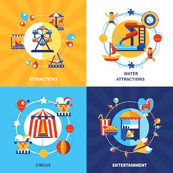 Park rozrywki 4 płaskie ikony placu