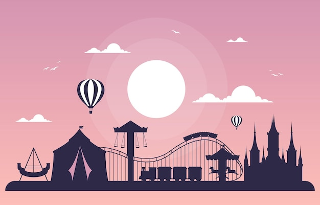 Park rozrywki castle circus happy holiday ilustracja