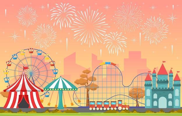 Park rozrywki cyrkowy karnawałowy festiwal zabawy jarmark z fajerwerku krajobrazową ilustracją