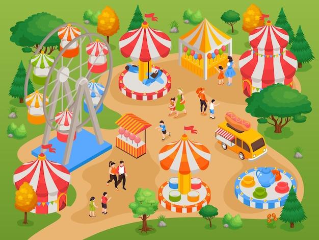 Park rozrywki dla dzieci z atrakcjami i zabawną izometryczną ilustracją tła